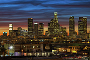 Los Angeles Skyline Framed Prints - Downtown At Dusk Framed Print by Shabdro Photo