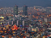 Aerial View Photos - Downtown At Night In South Korea by Copyright Michael Mellinger