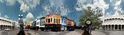 Store Fronts Digital Art Framed Prints - Downtown Bryan Texas 360 Panorama Framed Print by Nikki Marie Smith