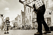 Copenhagen Denmark Prints - Downtown Busker Print by Robert Lacy
