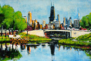 Reeves Prints - Downtown Chicago from Lincoln Park Print by Robert Reeves