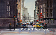 Figures Painting Metal Prints - Downtown Chicago Metal Print by Ryan Radke