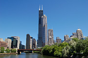 River View Posters - Downtown Chicago Skyline - View Along the River Poster by Suzanne Gaff