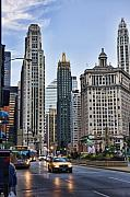 Chicago Digital Art Metal Prints - Downtown Chicago traffic Metal Print by Paul Bartoszek
