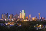 Dallas Texas Framed Prints - Downtown Dallas Skyline at Dusk Framed Print by Jeremy Woodhouse