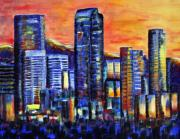 Denver Painting Acrylic Prints - Downtown Denver Sunset Acrylic Print by Jennifer Morrison Godshalk