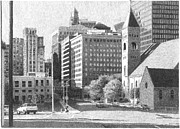 City Scene Drawings - Downtown Des Moines by Joel Lueck