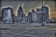 Nba Digital Art Posters - Downtown Detroit MI Poster by Nicholas  Grunas