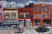 Brick Buildings Painting Framed Prints - Downtown Exeter NH Framed Print by Cori Caputo