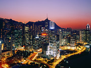 Office Space Prints - Downtown Hong Kong at Dusk Print by Jeremy Woodhouse