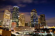 Texas Architecture Prints - Downtown Houston at night Print by Olivier Steiner