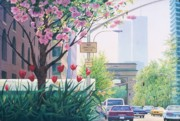 Washington Square Paintings - Downtown in Bloom by Daniel Dayley