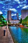 Indianapolis Digital Art - Downtown Indianapolis Canal by David Haskett