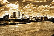 Indiana Digital Art Metal Prints - Downtown Indianapolis Skyline Dark Toned Metal Print by David PixelParable