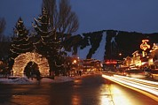 City Streets Prints - Downtown Jackson Hole At Night Print by Jim Webb