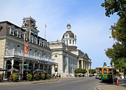 Kingston City Hall Posters - Downtown Kingston Poster by Valentino Visentini