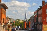 Small Towns Prints - Downtown Lexington 3 Print by Kathy Jennings