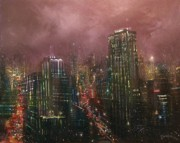 City At Night Paintings - Downtown Lights by Tom Shropshire
