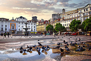 Cloudy Photo Prints - Downtown Lisbon Print by Carlos Caetano