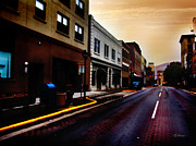 Small Towns Mixed Media Metal Prints - Downtown Metal Print by Lj Lambert