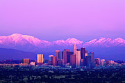 Purple Image Framed Prints - Downtown Los Angeles In Winter Framed Print by Andrew Kennelly