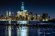 Freedom Tower Posters - Downtown Manhattan and Old pier remains Poster by Val Black Russian Tourchin