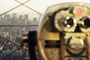 Office Space Prints - Downtown Manhattan Behind Coin Operated Binoculars Print by Jeremy Woodhouse