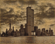 Sepia Framed Prints - Downtown Manhattan Circa Nineteen Seventy Nine  Framed Print by Chris Lord