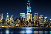 Val Black Russian Tourchin Prints - Downtown Manhattan from Hoboken Print by Val Black Russian Tourchin
