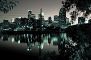 Downtown Posters - Downtown Minneapolis at Night II Poster by Angie Schutt