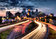 Light Trail Prints - Downtown Minneapolis Skyscrapers Print by Greg Benz