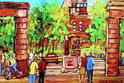 Summerscene Framed Prints - Downtown Montreal Mcgill University Streetscenes Framed Print by Carole Spandau