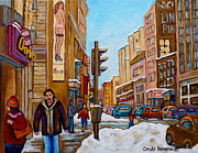 Store Fronts Posters - Downtown Montreal Paintings Poster by Carole Spandau
