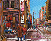 Couple In Snow Posters - Downtown Montreal Streetscene At La Senza Poster by Carole Spandau