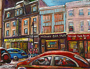 Montreal Street Life Paintings - Downtown Montreal Streetscene by Carole Spandau
