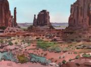 Tribal Painting Originals - Downtown Monument Valley by Donald Maier