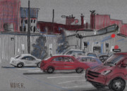 Car Pastels Framed Prints - Downtown Parking Framed Print by Donald Maier