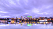 Willamette River Framed Prints - Downtown Portland Oregon Waterfront Sunset Clouds Framed Print by Dustin K Ryan