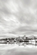 River. Clouds Framed Prints - Downtown Portland Oregon Willamette River Waterfront Framed Print by Dustin K Ryan