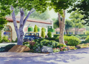 Southern California Paintings - Downtown Rancho Santa Fe by Mary Helmreich