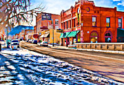 Arkansas Digital Art Framed Prints - Downtown Salida hotels Framed Print by Charles Muhle