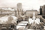 Tabernacle Framed Prints - Downtown Salt Lake City Framed Print by Marilyn Hunt
