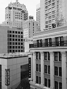 Hyatt Hotels Framed Prints - Downtown San Francisco Buildings - 5D19323 - Black and White Framed Print by Wingsdomain Art and Photography