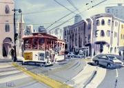 Cities Painting Framed Prints - Downtown San Francisco Framed Print by Donald Maier