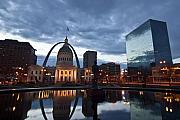 St Louis Photos - Downtown St. Louis at dawn by Sven Brogren