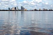 Tampa Skyline Posters - Downtown Tampa over Hillsborough Bay Poster by Carol Groenen