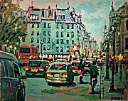 Rainy Street Painting Originals - Downtown Traffic by Brian Simons