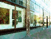Building Mixed Media Originals - Downtown window Of Art by Florene Welebny
