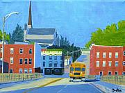 Brick Buildings Painting Framed Prints - Downtown With School Bus     Framed Print by Laurie Breton