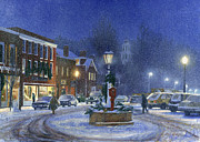 Snowy Night Framed Prints - Downtown Woodstock Framed Print by Candace Lovely
